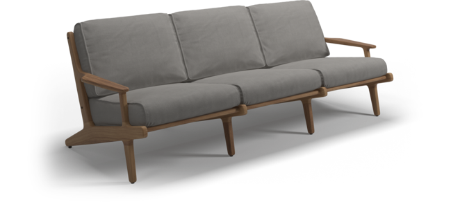 Picture of BAY 3-SEATER SOFA (TEAK / FIFE CANVAS GREY)